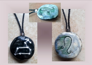 Leo Zodiac Star Constellation Necklace Sun Sign Ceramic Pendant Astrology Lion Pottery Amulet