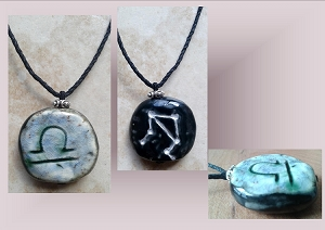 Libra Zodiac Star Constellation Necklace Sun Sign Ceramic Pendant Astrology Scales Pottery Amulet