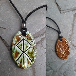 LOKI Necklace Green Moss Ceramic Norse Runestone Pendant Viking Amulet Trickster God
