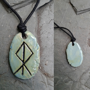 LOKI Necklace Sea Green Ceramic Norse Runestone Pendant Viking Amulet Trickster God
