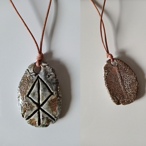 LOKI Necklace Grey Ceramic Norse Runestone Pendant Viking Amulet Trickster God