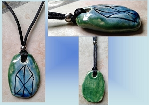 Turquoise Green Viking LOVE Rune Necklace Norse Runestone Ceramic Pendant