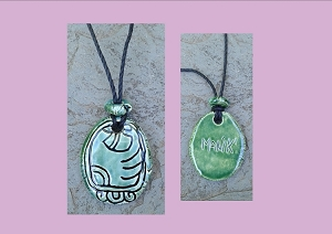 Mayan MANIK Necklace Mesoamerican Tzolk'in Day Sign Deer Glyph Ceramic Amulet Turquoise Green