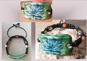 Men's Marijuana Ceramic Bracelet Green Turquoise Cannabis Pottery