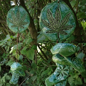 Marijuana Clay Wind Chime Turquoise Green Ceramic Pottery Chimes Garden Ornament