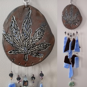 Marijuana Glass & Clay Wind Chime Blue Bronze Ceramic Pottery Cannabis Leaf Mobile