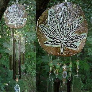 Marijuana Glass Wind Chime Green Bronze Ceramic Pottery Chimes Garden Ornament