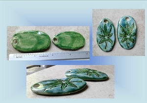 Set 2 Ceramic Green Turquoise Marijuana Pendants Beads Cannabis Hemp Jewelry Making Supplies