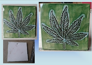 Marijuana Leaf Tile Green Turquoise Cannabis Ceramic Decorative Tile Clay Wall Decor