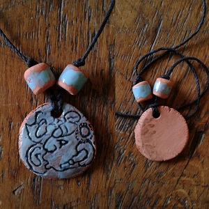 Mayan King Necklace Turquoise Terra Cotta Pendant Aztec Glyph Amulet