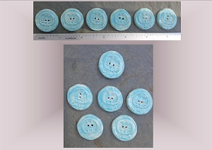 6 Ceramic Buttons, Mayan Pottery Buttons, Turquoise Buttons, Caban Ceramic Stone Buttons, Handmade Clay Buttons