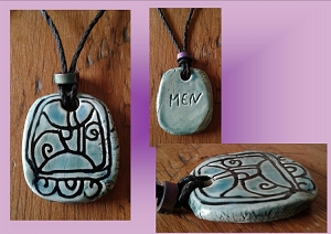 Mayan MEN Necklace Teal Turquoise Eagle Glyph Mesoamerican Tzolk'in Day Sign Amulet Olmec Pendant