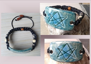 Men's Aquarian Star Bracelet Turquoise Teal Unicursal Hexagram Seal of Orichalcos Men of Letters Adjustable Bracelet