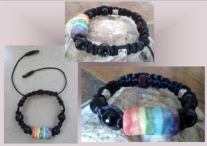 Men's Rainbow Bracelet Lgbt Ceramic Bead Chakra Gay Pride Black Onyx Adjustable Bracelet