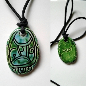 Mayan MEN Necklace Mesoamerican Tzolk'in Day Sign Eagle Glyph Ceramic Amulet Turquoise Green