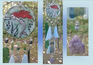 Mermaid Glass Wind Chime Silver Tail Ceramic Chime Turquoise Pottery Garden Ornament Mobile Sun Catcher