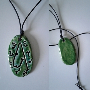 Archangel Metatron Necklace Ceramic Pendant Green Sigal Enochian Amulet of Sacred Protection