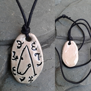 Archangel Metatron Necklace Ceramic Pendant Sigal Enochian Amulet of Sacred Protection