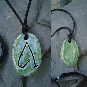 Archangel Metatron Necklace Angel Sigil Ceramic Pendant Turquoise Green Sacred Protection Amulet