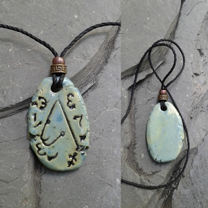 Archangel Metatron Necklace Ceramic Pendant Sea Green Sigal Enochian Amulet of Sacred Protection