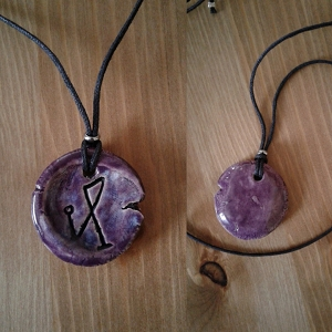 Archangel Michael Necklace Purple Sigil Ceramic Pendant Sacred Protection Amulet