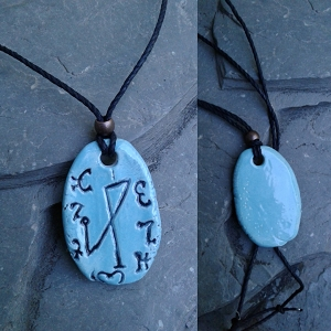 Archangel Michael Necklace Ceramic Turquoise Angel Pendant Sigil Enochian Amulet