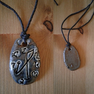 Archangel Michael Necklace Ceramic Blue Bronze Angel Pendant Sigil Enochian Amulet