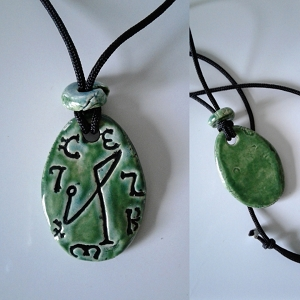Archangel Michael Necklace Ceramic Turquoise Green Angel Pendant Sigil Enochian Amulet