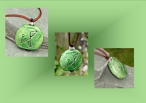 Angel Michael Necklace, Archangel Sigil Green Pendant, Sacred Protection, Ceramic Jewelry, Pottery Focal Beads .2