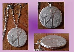 Archangel Michael Necklace Metal Pendant Angel Sigil Amulet Etched Metal Disc