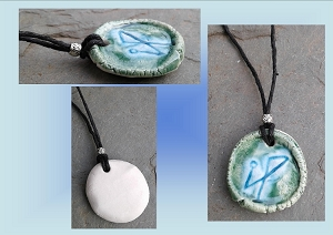 Archangel Michael Necklace Green Turquoise Angel Sigil Ceramic Pendant Sacred Protection Amulet
