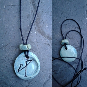 Archangel Michael Necklace Sea Green Angel Sigil Ceramic Pendant Divine Protection
