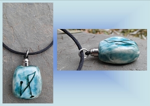 Archangel Michael Necklace Turquoise Teal Angel Sigil Ceramic Pendant Sacred Protection Amulet