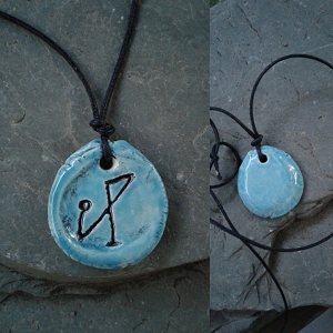 Archangel Michael Necklace Turquoise Angel Sigil Ceramic Pendant Divine Protection
