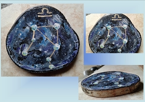 Mini Zodiac Libra Star Constellation Painting on Wood Original Watercolor Birth Sign Nebula Gas Cloud