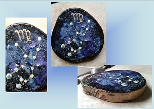 Mini Zodiac Virgo Star Constellation Painting on Wood Original Watercolor Birth Sign Nebula Gas Cloud