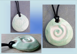 Icy Pale Green Sacred Spiral Ceramic Aromatherapy Necklace Essential Oil Diffuser Pendant Clay Pottery