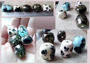 Set 5 Ceramic Beads Horse Cat Paws Pewter Turquoise Pottery Clay Beads DIY Jewlery Macrame Fibre Projects