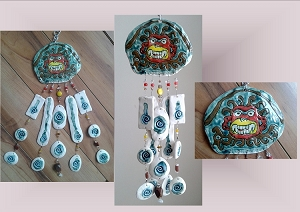 Incan Pottery Wind Chime Moche Mountain God Ceramic Clay Mobile Peruvian Stone Art