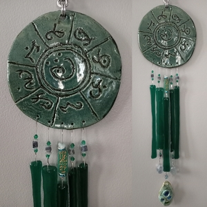 Atlantis Glass Wind Chime MU Pottery Chimes Lemurian Ceramic Teal Sun Catcher