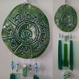 Atlantis Glass Wind Chime MU Pottery Chimes Lemurian Ceramic Green Turquoise Sun Catcher