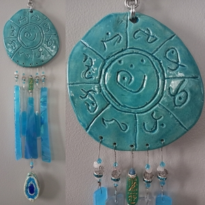 Atlantis Glass Wind Chime MU Pottery Chimes Lemurian Ceramic Turquoise Sun Catcher
