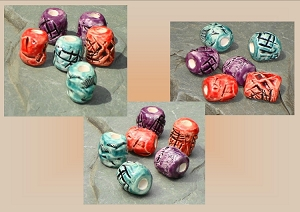 Beads, Dread Beads, Hair Accessories, Large Red Teal Purple Beads, Ceramic Pottery Beads, Handmade Clay Beads
