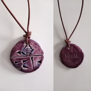 Cuneiform SEER ( NABU ) Necklace Sumerian Pendant Purple Ceramic  Amulet