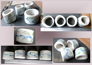 Set of 4 Porcelain Napkin Rings Ceramic Medium Size Dining Decor