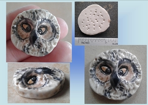 Fine Porcelain Owl Cabochon Northren Owl Pendant Ceramic Handmade Bird Sculpture DIY Jewlery Making Kits Mosaics