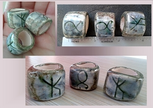 3 Troll Cross Rune Stones Ceramic Macrame Beads Large Hole Bind Runes Norse Viking Beads Dreads