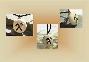 Men's Jumis Necklace, Baltic Pendant, Pagan Jewelry, Stone Glyph, Pottery Focal Bead