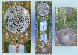 Octopus Glass Wind Chime Ceramic Chime Sea Turquoise Pottery Garden Ornament Mobile Sun Catcher Beach Decor