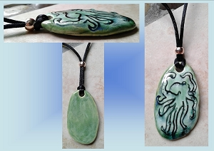 Sea Turquoise Ceramic Octopus Necklace Beach Boho Pendant Surfer Sea Ocean Amulet